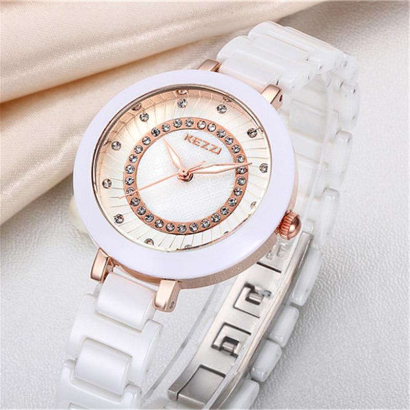 New Arrival K1189 100 Ceramic BrandKEZZI Ladies Wristwatch Crystal Stone Ceramic Watch Women free shipping