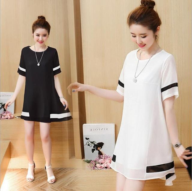 945417f36dd LIWA 2017 Summer Women Korean Style Dress Casual Loose Chiffon Cute Dress  Short Sleeve Plus Size Dress Fashion Vestidos C23