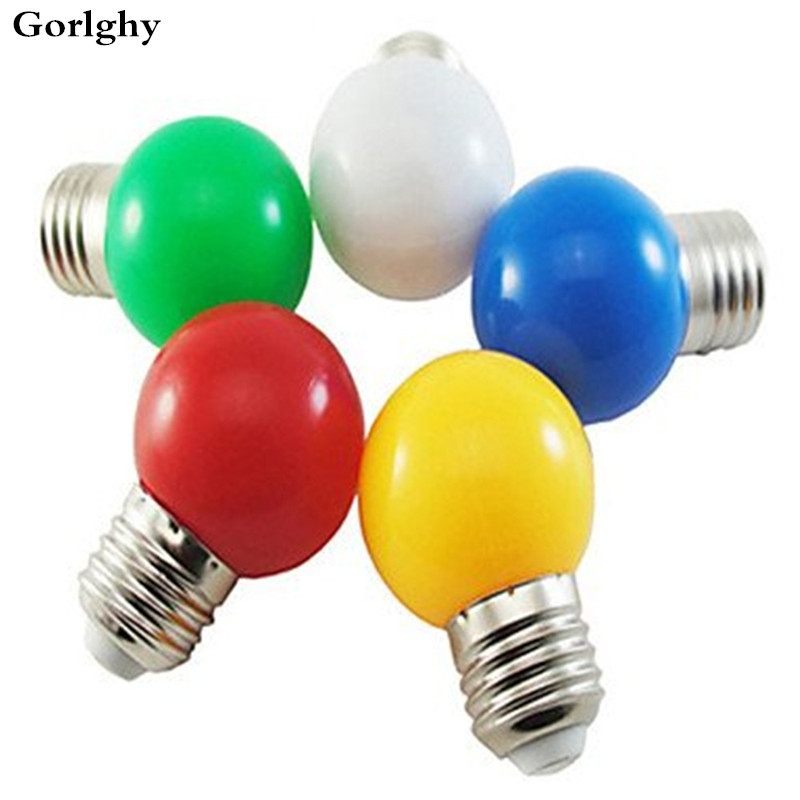 1pcs <font><b>1W</b></font> E27 <font><b>LED</b></font> Globe <font><b>Bulbs</b></font> G45 8 <font><b>LED</b></font> SMD 2835 Decorative White Green Yellow Blue Red 170-250V Colored Light <font><b>Bulb</b></font> Cover Lamp image