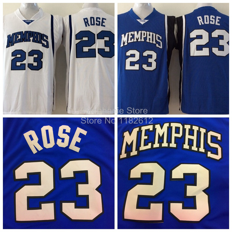 556c6bc1 ... Derrick Rose Jersey Cheap NCAA Memphis Tigers 23 Derrick Rose White Blue  College Basketball Jerseys Derrick ...