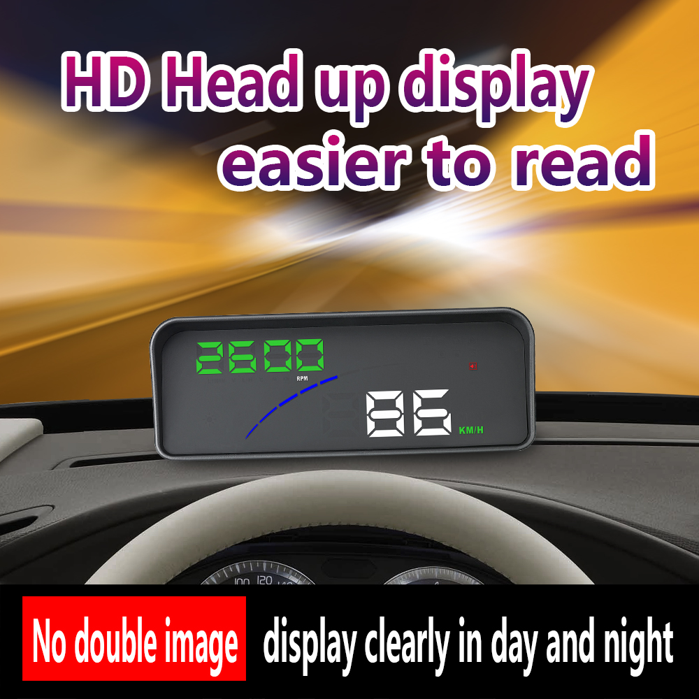 HUD Universal Car Head Up Display with OBD2 Port Vehicle Windshield Reflector Projection Speed RPM Voltage