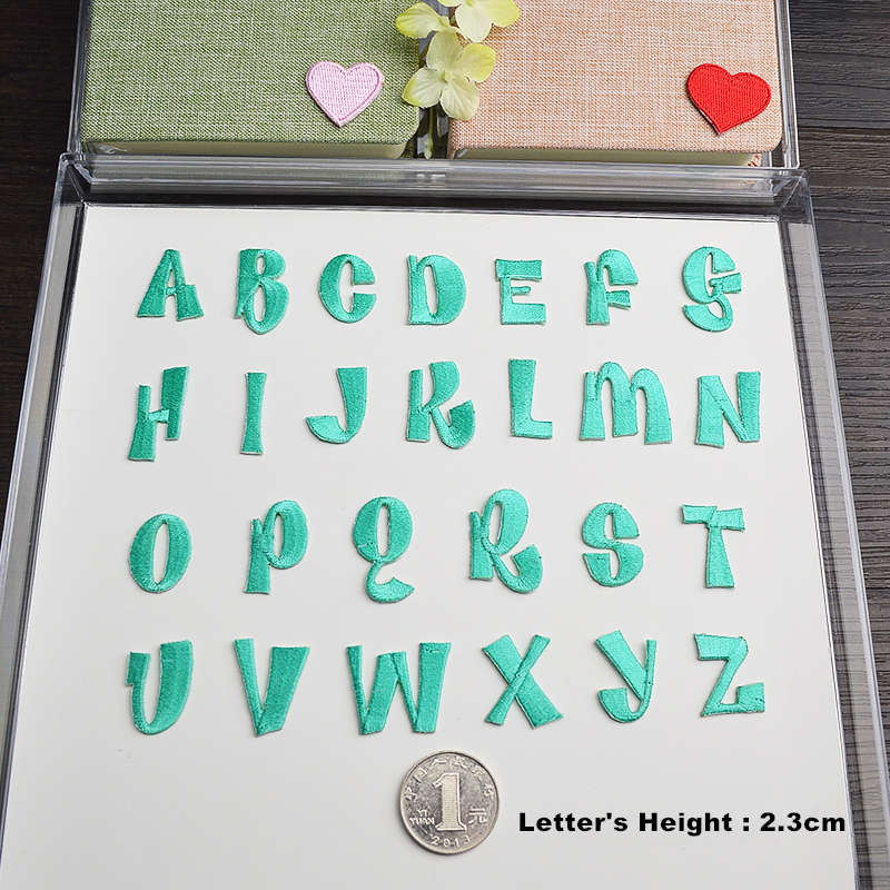 Green English Letters alphabet embroidered patches applique for clothes shoes bags application iron on patches bordado 1PCS