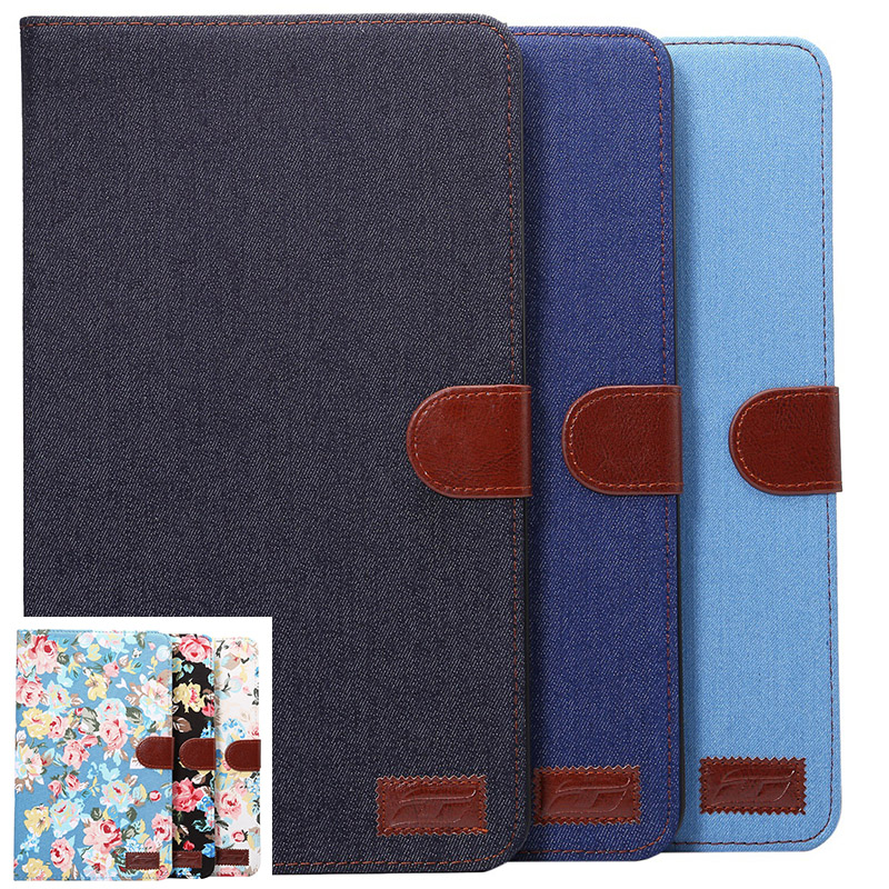 Fashion Flower Pattern & Smart Jeans Leather Cover For Samsung Galaxy Tab A T580 T585 10.1 Tablet Case+Screen Protector+OTG+Pen