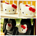 2PCS Free Shipping Cute KT Car Neck Bolste Hello Kitty Car Accessories Cotton Car Headrest Kid White Pink Red Color