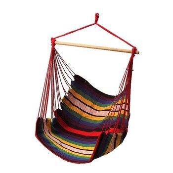Garden Patio Porch Hanging Cotton Rope Swing Chair Seat Hammock Swinging Wood Outdoor Indoor Swing Seat Chair