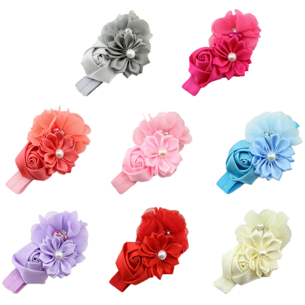 2019 New Sweet Baby Girl Hair Band Flower Pearl Headwear For 3-36 Months