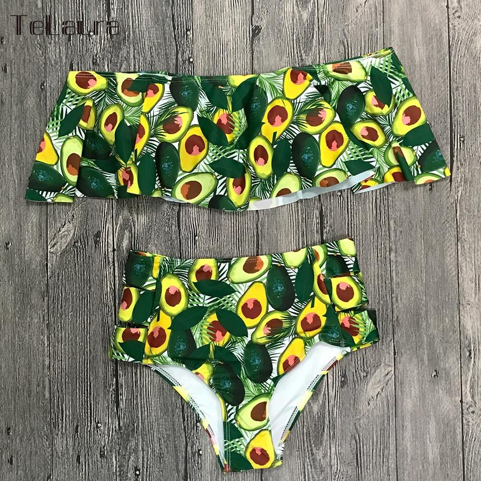 2019 New Sexy High Waist Bikini Swimwear Women Swimsuit Off Shoulder Bathing Suit Biquini Ruffle Brazilian Bikini Set Beachwear