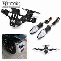 Motorbike Conversion Scooter Moped License Plate Frame Licence Holder Motorcycle Number Plate Holder With LED Turn
