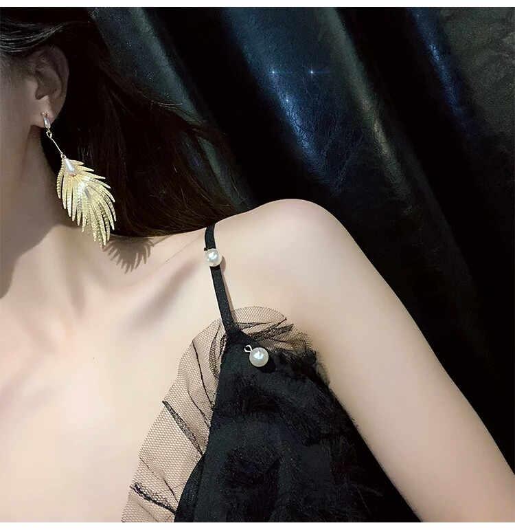Горячая продажа листья серьги кулон длинное эффектное Висячие серьги для женщин жемчужные серьги со стразами модные ювелирные изделия Brincos