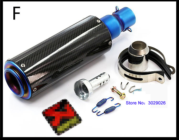 Blue Carbon Inlet 51mm length 380mm Universal Motorcycle Exhaust Escape For Most Motorbike Akrapovic Muffler Pipe DB killer 51 inlet 51mm motorcycle universal exhaust muffler pipe with db killer for akrapovic large displacement steel carbon aluminum