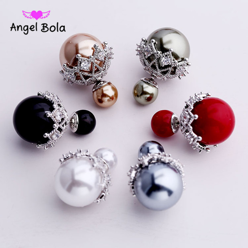 10 Pairs/lot New Fashion Natural Freshwater Pearl Earrings 925 Sterling Silver Jewelry Femme Pink Stud Earrings for Women