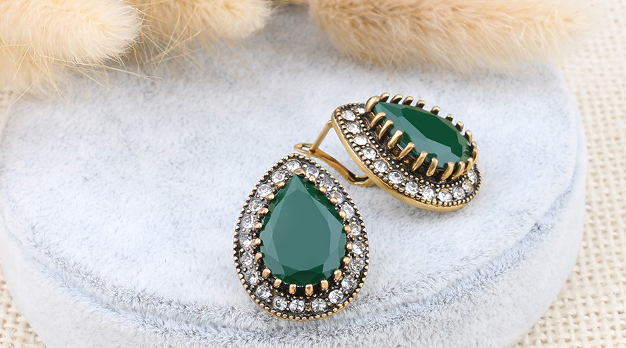HTB1laJ5OVXXXXbeXpXXq6xXFXXXs - Indian Jewelry Designer Fashion Earrings For Women Water Drop Green Resin Sale Wholesale Jewellery Mixed Lots
