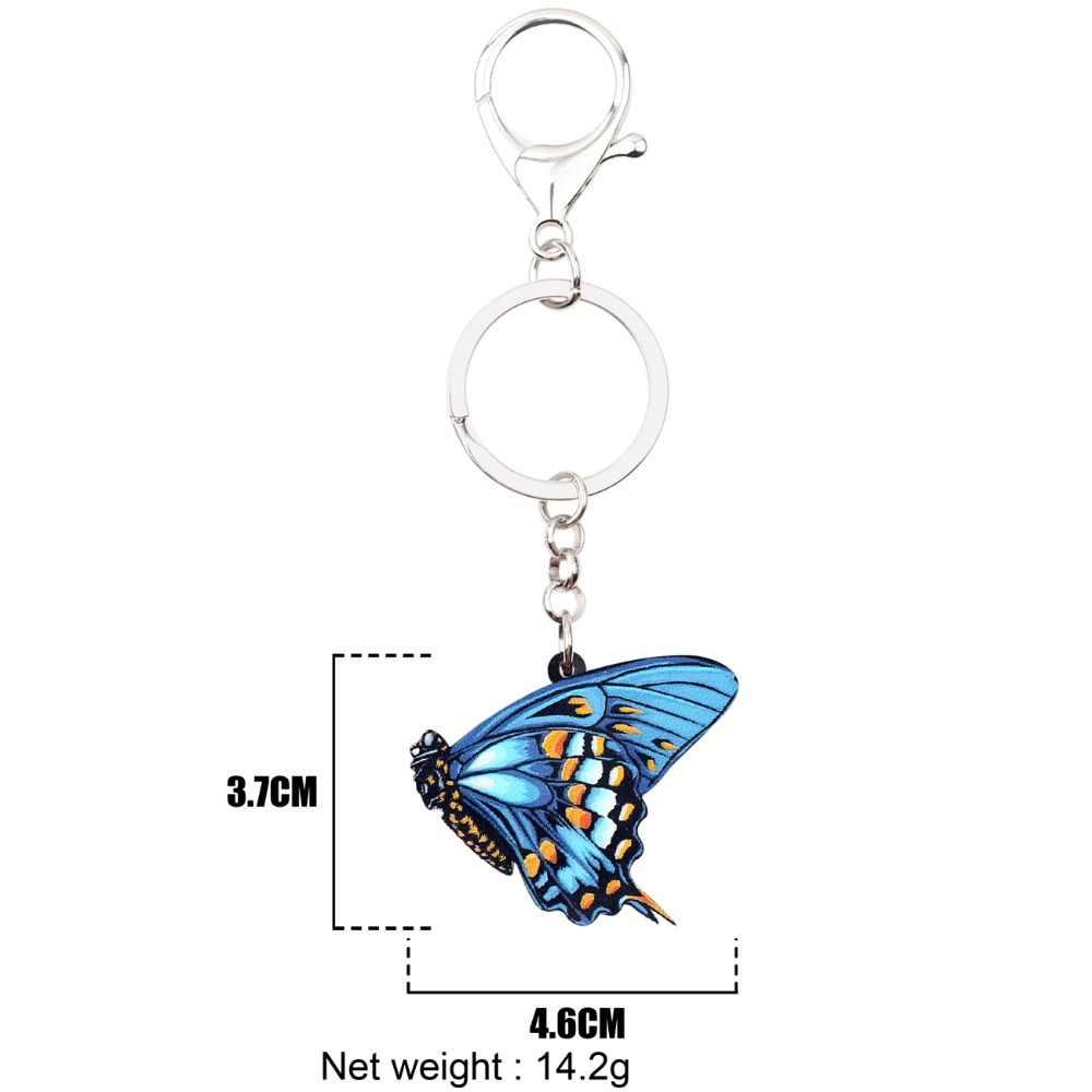 Bonsny สีฟ้าอะคริลิค Danaidae ผีเสื้อพวงกุญแจพวงกุญแจแหวนแฟชั่นแมลงเครื่องประดับสำหรับหญิงสาวกระเป๋าถือ Charms จำนวนมาก