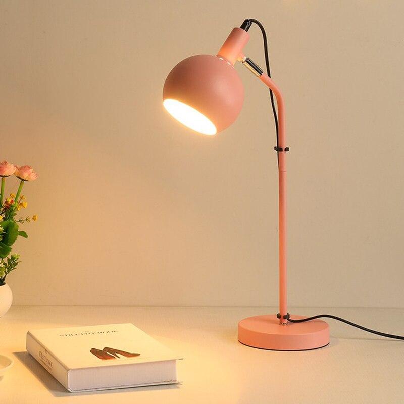 Nordique moderne Simple Macarons chambre métal lampe de bureau personnalité créative Protection des yeux bureau étude LED lecture E27 lampe 6W