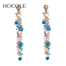 HOCOLE 2018 New Boho Long Sequins Tassel Earrings Bohemia Statement Jewelry Accessories Crystal Ball Drop for Women