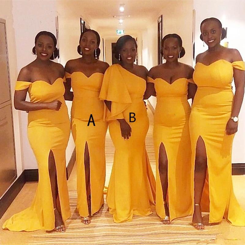 Cinderella African Yellow Sweetheart  Side Slit Sweep Train Satin Mermaid Bridesmaid Dresses Wedding Party Bridesmaid Dresses