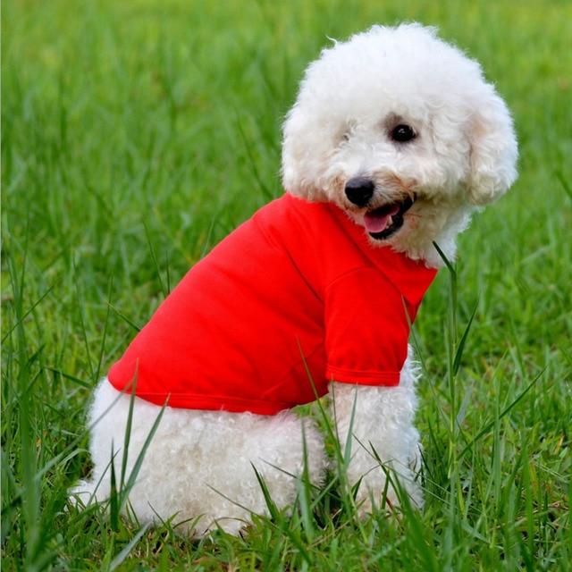 Pet Clothes Dog Solid color Polo Shirt Apparel Lapel Costume Dog Clothes T-shirt Casual Puppy Suit Cotton Clothes Cozy Shirt 5