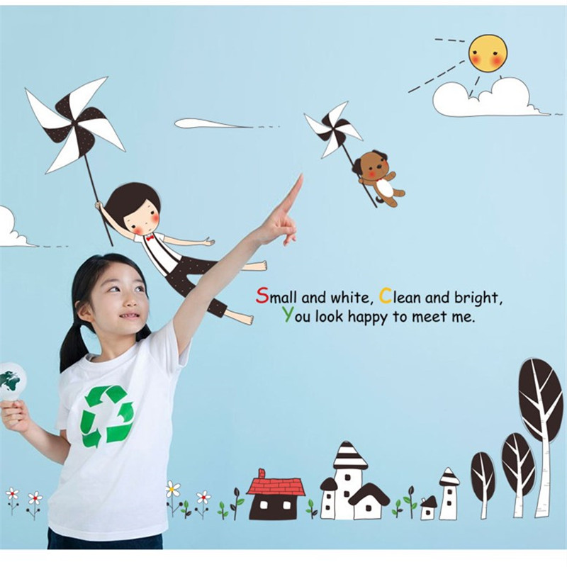 Comic town village windmill girl flying wall sticker home childrens room tree flower house clouds removeable Stickers bedroom
