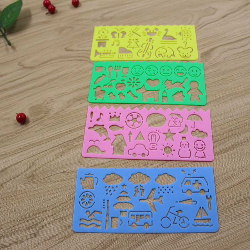 New creative children's educational multi-function student stationery cute painted icon ruler painting many pattern ruler