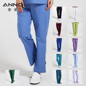 Image 1 - ANNO рабочие брюки для доктора, униформа для медсестры, штаны из хлопка с большим количеством карманов, зубные скрабы, штаны для спа ухода