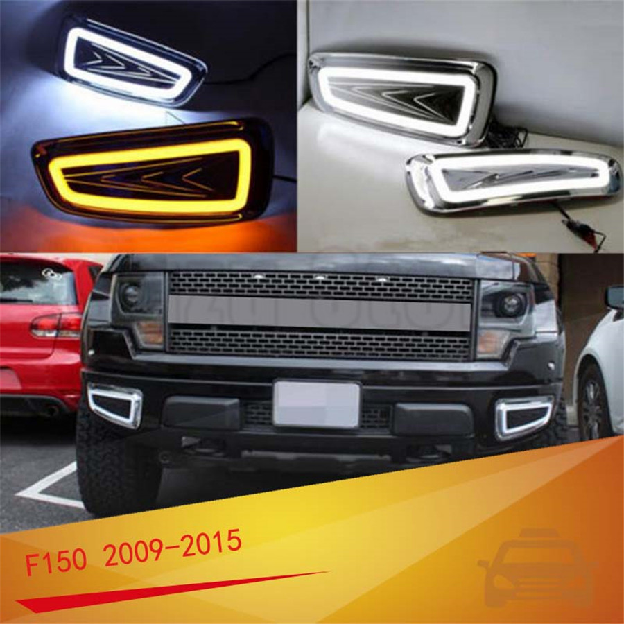 For Ford F150 Raptor SVT 2009-2015 Daytime Running Lights Fog Lamp LED DRL with Turn Signal US Shipment