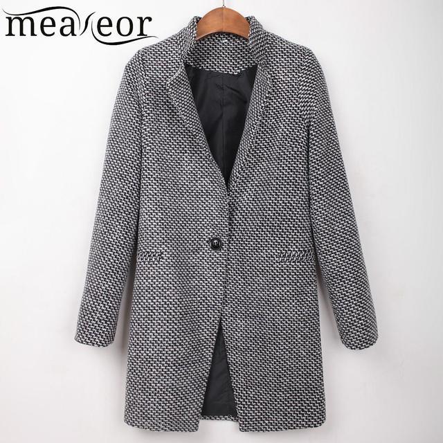 Meaneor femmes hiver manteaux Outwear décontracté manches longues laine bouton manteau survêtement décontracté hiver automne mélanges avec poche latérale