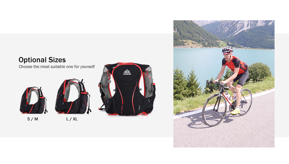 Foto of sizes breathable hydration vest pack for cycling. Outdoor hydration rucksack 1.5L for men