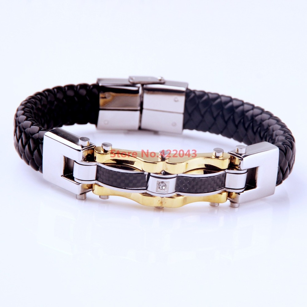 Fashion Charm Genuine Black Fine Leather 12mm Bracelet Bangle For Mens Womens 316L Stainless Steel Magnet Clasp Jewerly Bangle