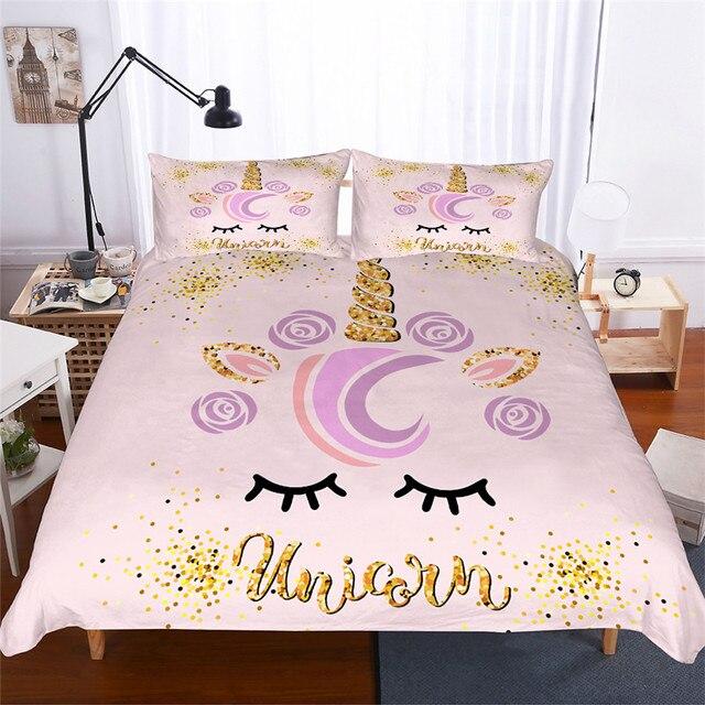 Bộ đồ giường Đặt 3D In Duvet Cover Bed Thiết Unicorn Trang Chủ Dệt May cho Người Lớn Sống Động Như Thật Chăn Mền với Gối # DJS07