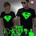 XXXL 3D T-Shirt Dos Homens Amantes Luminosos Camiseta homme Verão Topos de Impressão Homem Luz Fluorescente Personalizado Marca Masculina Curto-manga