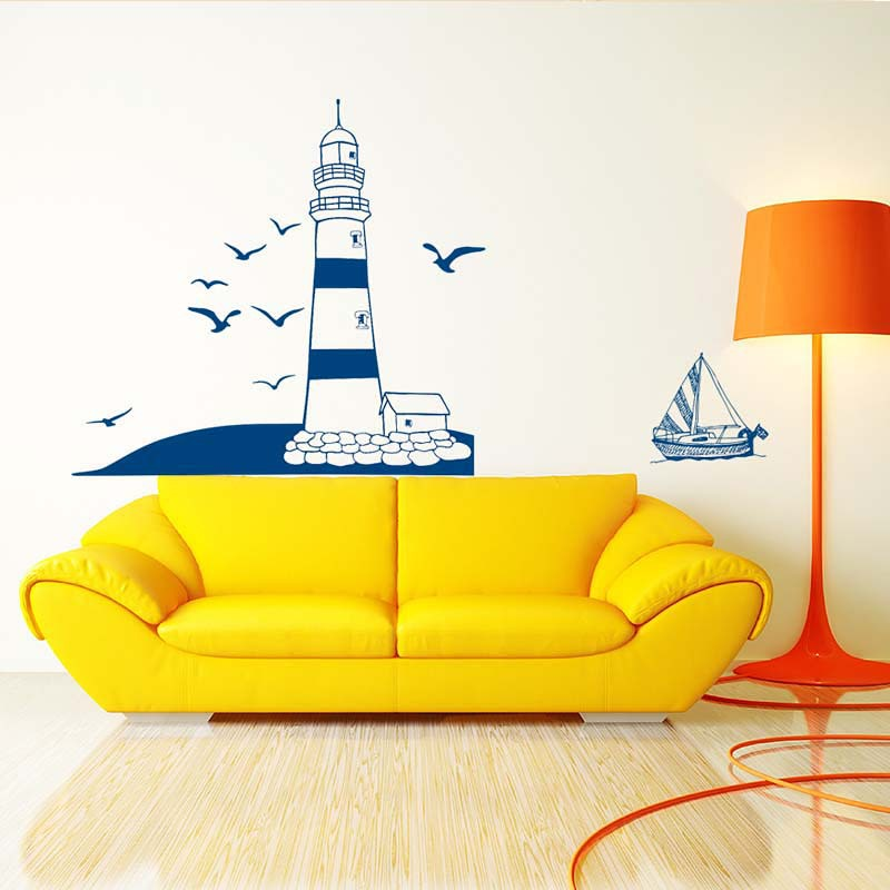 Lighthouse Seagulls Wall Sticker Room Sailboat Decals Removable Wall ...