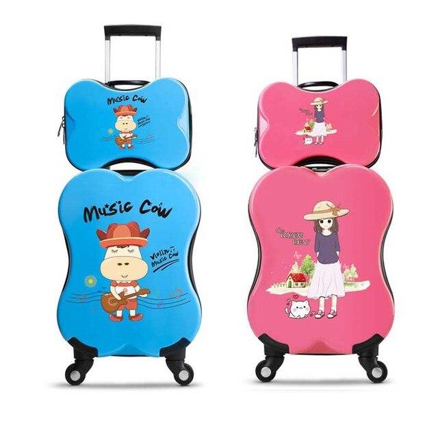BeaSumore Cute Cartoon Children Rolling Luggage Set Spinner Travel Bag on wheel Kids Suitcase Wheels Trolley Password Trunk