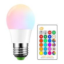 Bombilla LED E27 RGB, 5W, 16 colores, lámpara cambiable, foco LED + 24 teclas, Control remoto IR, AC85 265V, iluminación de vacaciones