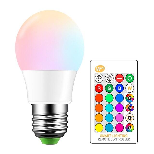 E27 5 w 16 Cor Mutável Lâmpada LED RGB Lâmpada LED Spotlight + Teclas de Controle Remoto IR AC85-265V 24 Férias iluminação led bombilla