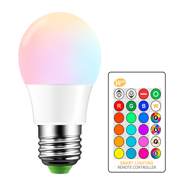 E27 RGB LED Bulb 5W 16 Color Changeable Lamp LED Spotlight+24Keys IR Remote Control AC85-265V Holiday Lighting bombilla led