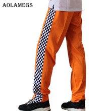 Aolamegs Pants Men Side Plaid Pants Track Pants Male Trousers Elastic Waist Fashion Straight Joggers Sweatpants Wiz Khalifa 2017