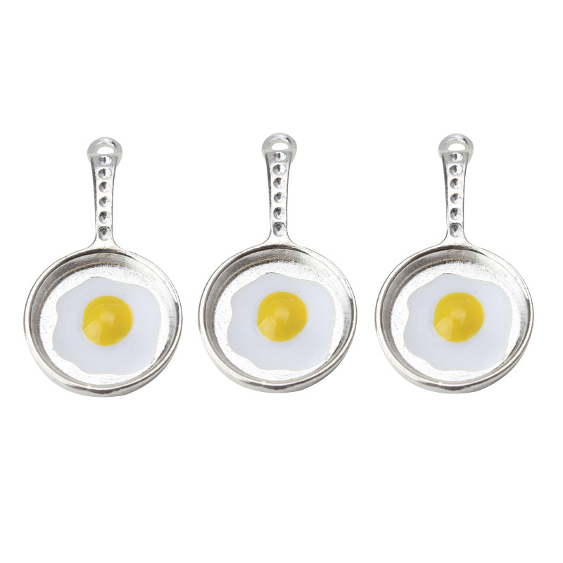 Bracelet Earring Charms Jewelry-Accessories Necklace Egg-Pendant Fried Metal for Diy title=
