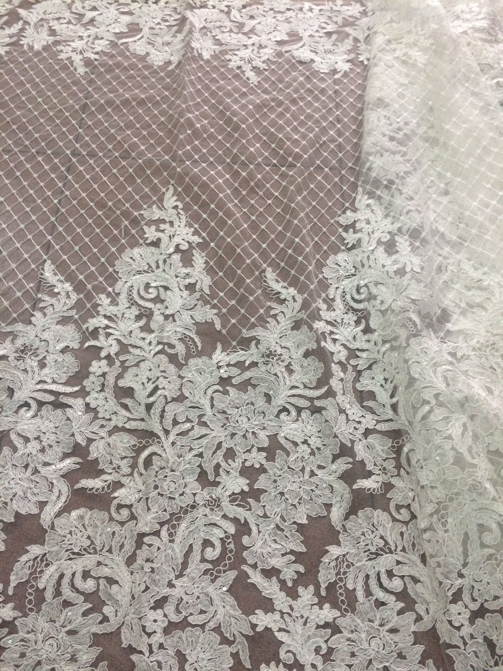 Fashion embroidered In Switzerland New Arrival LJY 6910 African Cord Net Lace Fabric with sequins for wedding-in Lace from Home & Garden    1