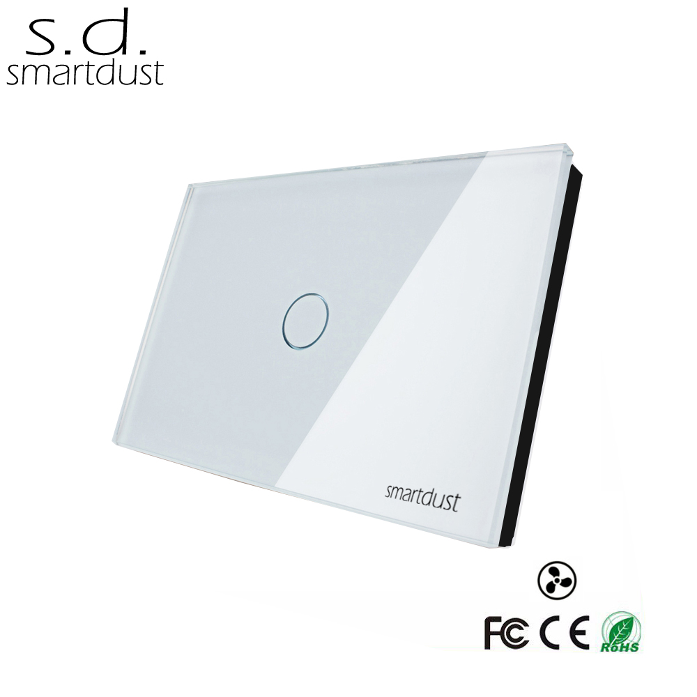 Smartdust 1 Gang 1 Way US Standard Sensor Touch Wall Switch, Glass Panel Touch Control Fan Regulator, Summer Fan Speed Switch