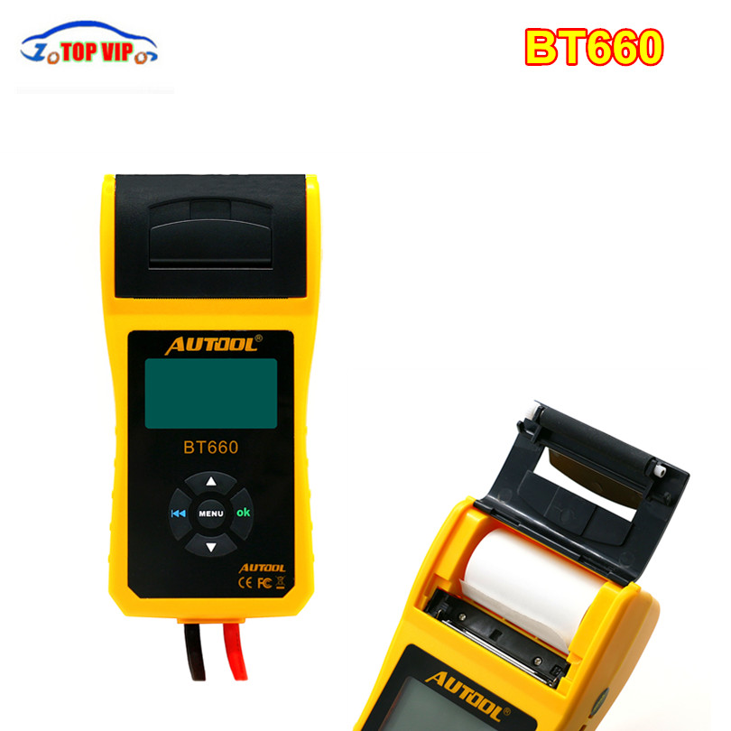 High Quality Original AUTOOL BT-660 Battery Built-in Thermal Printer BT660 Battery Charging System Tester