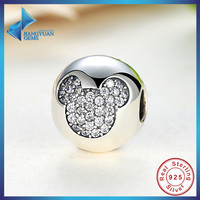 Gift Sterling Silver 925 Whimsy Fun Mickey Pave Clip Charms And Beads Fit Bracelet Necklace Jewelry