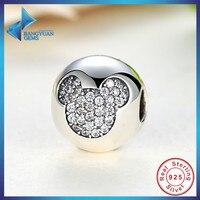 Regalo de Plata de ley 925 Diversión Banal Mickey Pavimenta Encantos de Clip y beads Fit Pandora Pulsera y Collar de La Joyería Accesorios