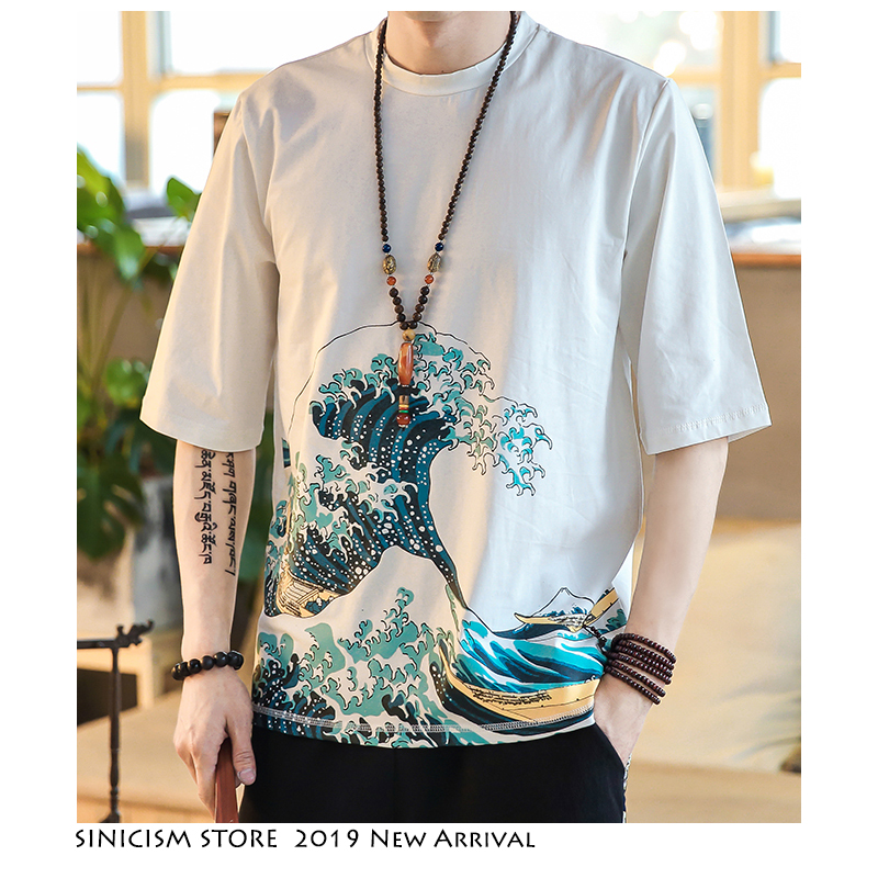 Sinicism Store Men Casual Cotton T-shirts 2019 Mens Print Chinese Style Streetwear Fashions White Male Tshirt Summer