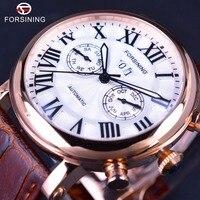 Forsining 2017 New Series Luxury Brand Design Sapphire Glass Surface Rose Golden Calendar Display Mens Watches