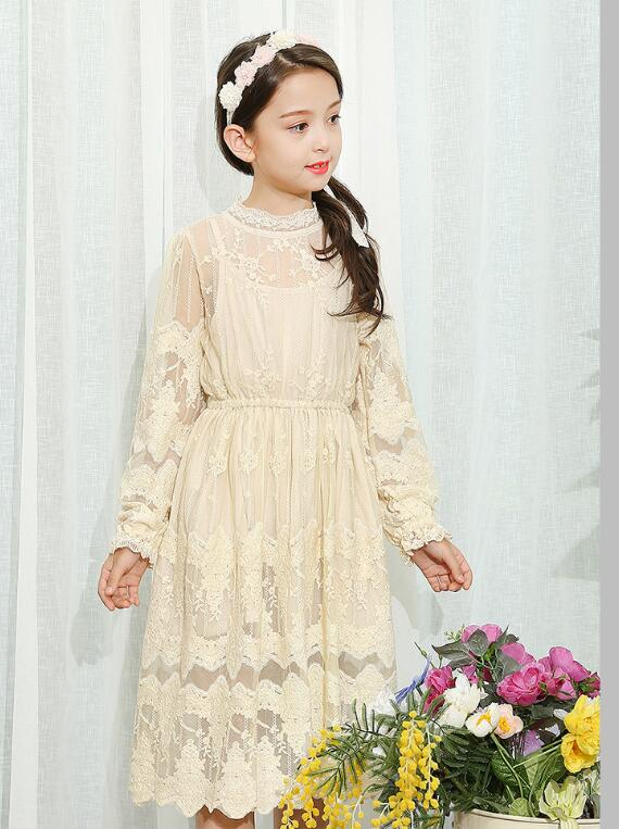 Girl's Long Lace Formal Dress 2017 Autumn Long Sleeve Hollow Out Girls Princess Dresses Kids Party Street Style Children's Dress 2017 autumn winter turtleneck sweater dress women sexy hollow out bodycon long sleeve ribbed knitted dresses vestidos