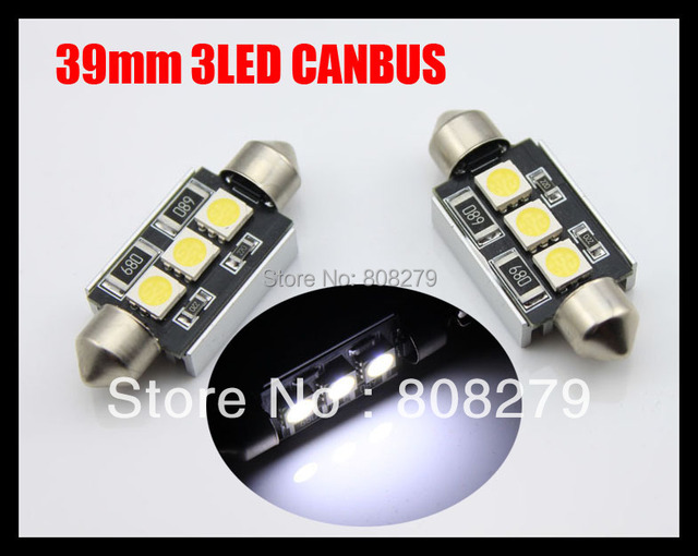2pcs/Pair Canbus 39mm 3 Led NUMBER PLATE LIGHT LED BULB 239 C5W Error Free White/Blue/Ice blue