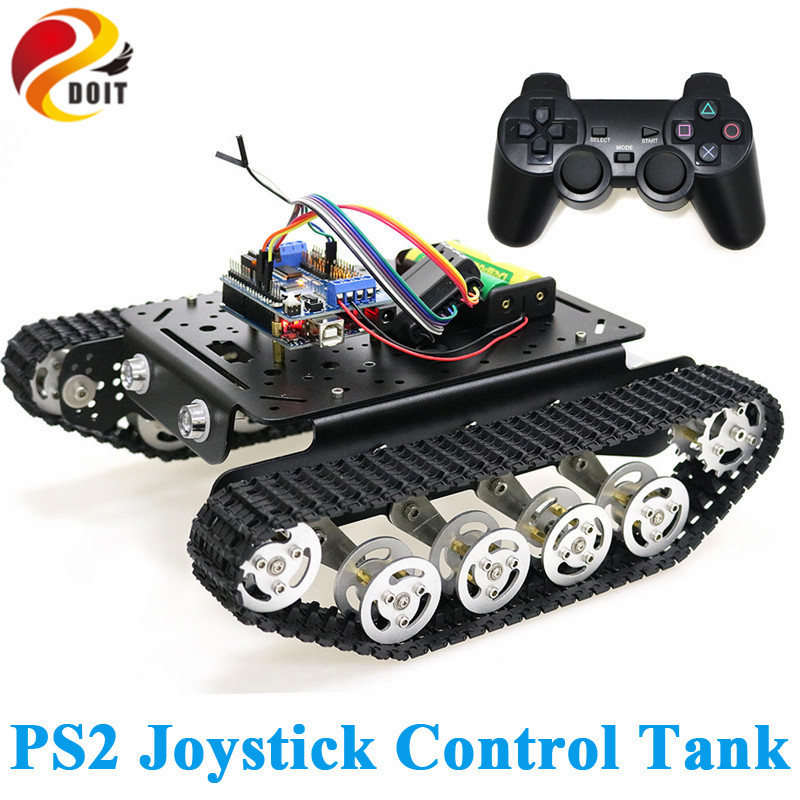 PS2 Joystick Control Shock Absorper Smart Robot Tank Chassis with Dual DC Motor+Arduino Board+Motor Driver Board for DIY Project wholesale mini usb 16 channel servo controller board for arduino robot project