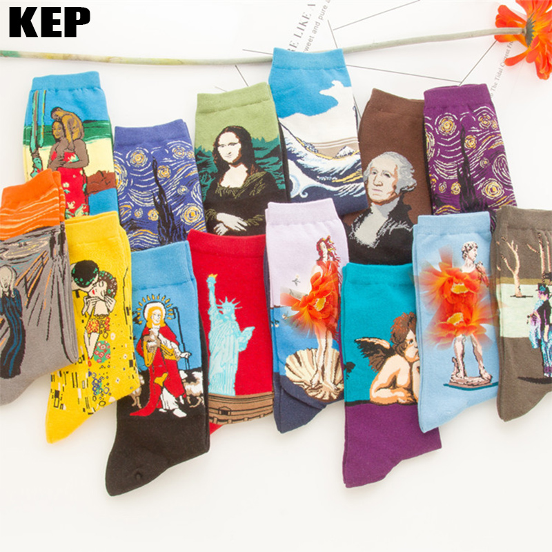 Art Harajuku Starry Night Autumn Winter Retro Men Cotton Socks Van Gogh Mural World Famous Oil Painting Mona Lisa Fashion Socks
