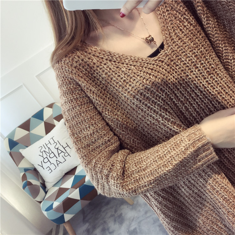 And V Lazy Women Lady Plus Outwear Coat Loose gray Winter 2019 Tops Khaki neck Sweater New green Wind Knitted Size Pull Pullovers rxxIq67w