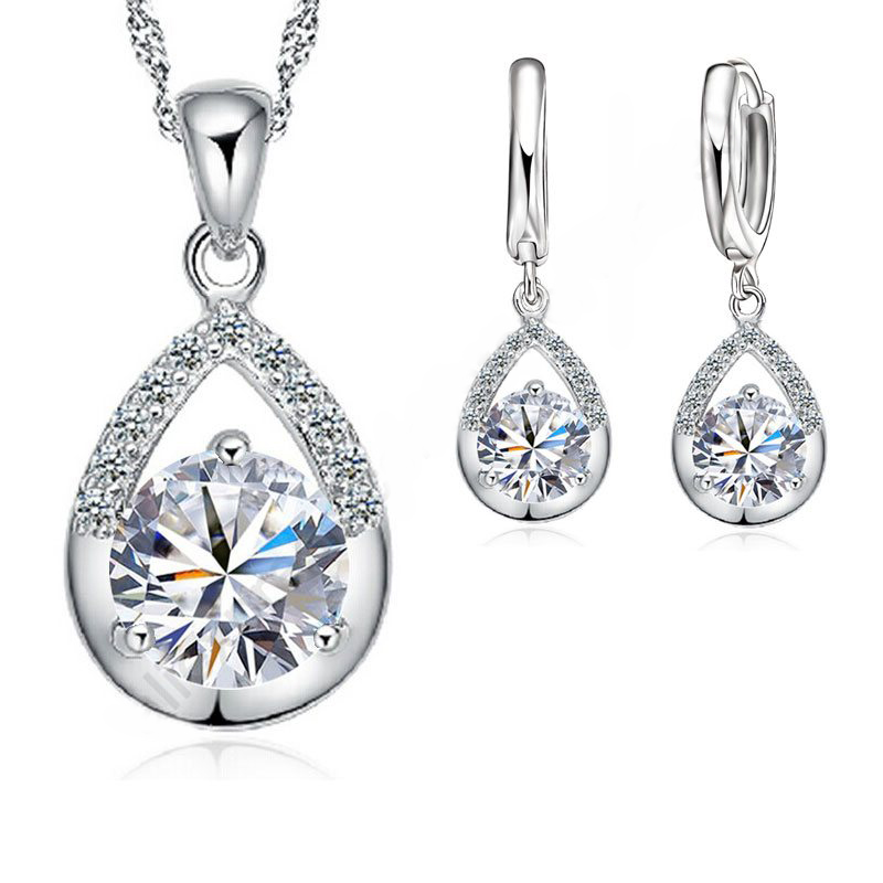 Elegant Fashion Jewelry Sets Pure 925 Sterling Silver Romantic Top Quality Earrings Necklace Set For Women Wedding Bridal